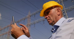 Engineer Monthly Maintenance Checking Electric Parameters Electricity Industry Stock Footage