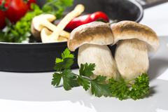 Mushroom boletus and pan before cooking Stock Photos
