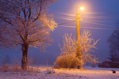 winter cold night with shiny lamp - stock photo