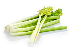 Ribbed celery fresh isolated on white background Stock Photos
