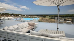 Pool and terrace of luxury resort hotel in Portugal - stock footage