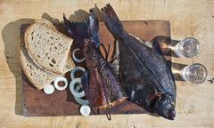 Smoked fish salmon and flounder delicious and gourmet food Stock Photos