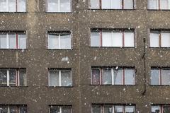 snow fall on the street - stock photo