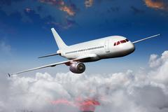 Aircraft airliner airplane in the sky Stock Photos