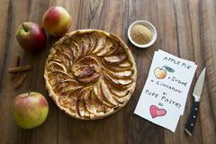 apple pie favourite sweet desert at the table - stock photo