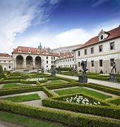 Walleinstein palace at central Prague famous touristic place Stock Photos