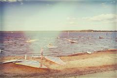 Windsurfers are preparing to compete at the lake Stock Photos
