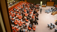 Security Council chamber United Nations Headquarters - stock footage