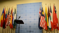 Security Council chamber United Nations Headquarters, press statement position Stock Footage