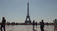 Paris Eiffel Tower Slow Motion People in the morning - 1080p Stock Footage