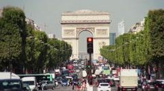 Champs Elysée traffic, Paris - 1080p Stock Footage