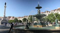 Fountain at Dom Pedro IV square, Lisbon Stock Footage