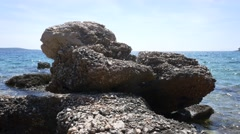 Sea scene with rock in front of it 4K Stock Footage