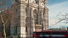 Time-lapse of Westminster Abbey under a blue sky in London. Cropped. Stock Footage