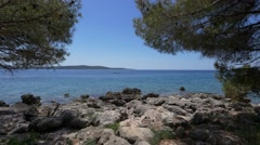 Amazing view on Adriatic sea from the coast of Hvar Stock Footage