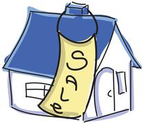 Drawn colored house with blue roof for sale - stock illustration