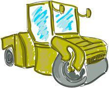 Drawn asphalt spreader Stock Illustration