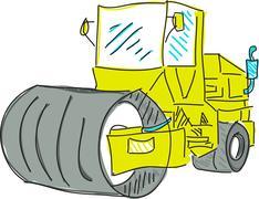 Drawn colred asphalt spreader - stock illustration