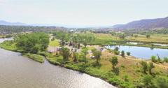 Aerial view of rest area near Colorado River at Rifle, Colorado. Stock Footage