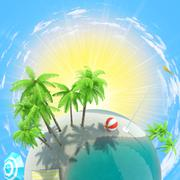 Earth with palms and sun Stock Illustration