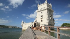 Tower of Belem on the Tage river in Lisbon Stock Footage