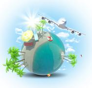 Jet flying near Earth with sun Stock Illustration