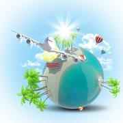 Stock Illustration of Jet flying near Earth with balloons