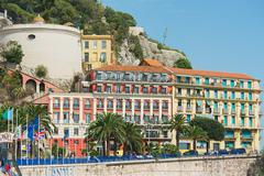 Exterior of the historical buildings in Nice, France. - stock photo