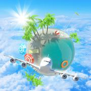 Jet flying in clouds near Earth - stock illustration