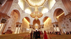 Stock Video Footage of abu dhabi famous main mosque crowded inside 4k time lapse uae