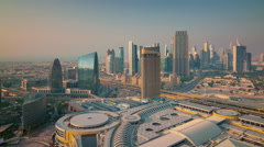Sunset dubai world famous hotel roof top city panorama 4k time lapse uae Stock Footage
