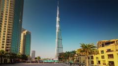 Sunset world highest building square panorama 4k time lapse dubai uae Stock Footage