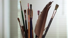 Paint brushes turning Stock Footage
