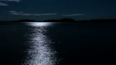 4K Time-lapse of moving reflections of moon at nightly lake - stock footage