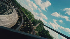 Riding on a Roller Coaster Stock Footage