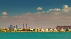 Sunny day dubai marina city palm bay panorama 4k time lapse uae Stock Footage
