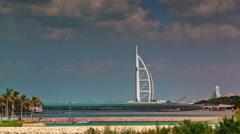 sun light dubai world famous hotel panorama 4k time lapse uae - stock footage