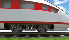 Modern train moving on rail-tracks, close-up view - stock illustration