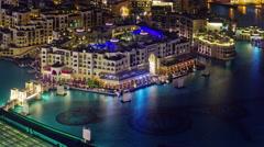 Night illumination dubai famous music fountain roof view 4k time lapse uae Stock Footage
