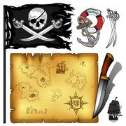 marine theme icons set - stock illustration
