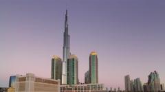 sunset light dubai city world highest hotel building panorama 4k time lapse uae - stock footage