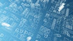 Blueprint of virtual growing city 4K Stock Footage