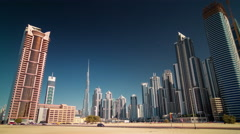 Summer dubai city business bay panorama 4k time lapse uae Stock Footage