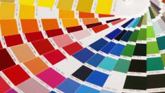 Color samples RAL shot dolli Stock Footage