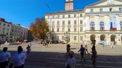 Lviv, Ukraine, 30.08.2015, 4K timelapse, Lviv, Market Square (Ploshcha Rynok) Stock Footage