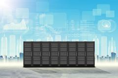 Set of steel lockers on cityscape background - stock illustration