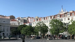 Don Pedro IV square, Lisbon Stock Footage