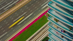 Dubai city traffic road hotel stairs balcony roof top view 4k time lapse uae Stock Footage