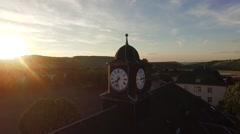 Broken Clocktower at sunset Stock Footage