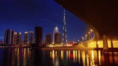 Night light dubai downtown bridge bay panorama 4k time lapse uae Stock Footage